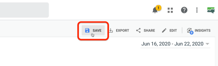 highlighted option to save a google analytics custom report