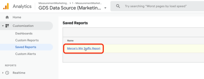 """highlighted menu option to open a saved custom google analytics report from the customization ></noscript> saved reports menu"""" /></p> <p>Clicking the report link takes you directly to your report with all of your changes already in place so your answers are right at your fingertips. You don't have to set everything up again.</p> <p>Now that you know how to customize a source/medium report and save it, let's talk about how to analyze the data.</p> <p>In the example below, you can see the types of traffic I have coming through—including email, partner, and podcast traffic—and the sources of that traffic. Remember, you can see that because I'm using UTMs.</p> <p>The report shows how much traffic I'm getting from different traffic sources, and the engagement of that traffic, and ultimately, ties it to a result (leads).</p> <p><img class="""