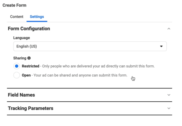 facebook lead ads create new lead form option to adjust form configuration settings of language which is set to english, and sharing which is set to restricted