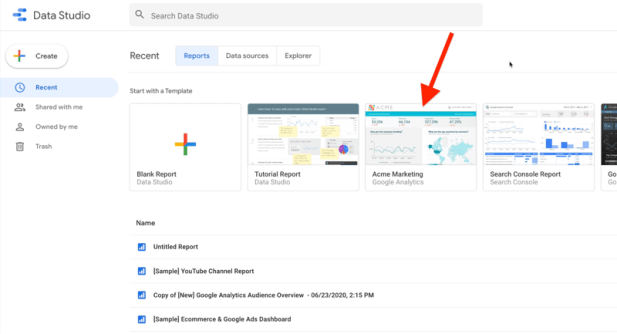 example google data studio account showing the 'recent' tab with 'reports' selected, showing a few example reports and report templates with the acme marketing template for google analytics highlighted