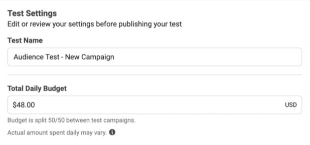 Facebook ads test daily budget