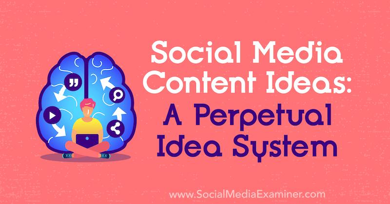 Ideen für Social Media-Inhalte: Ein ewiges Ideensystem von Matt Johnston über Social Media Examiner.