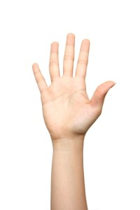 Raised hand by Charles B. Ming Onn on Shutterstock.com