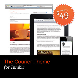 Screen shots of the Courier Theme for Tumblr on a browser, the iPad and the iPhone.