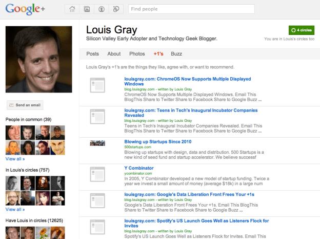 Louis Gray's Google Profile +1's Section