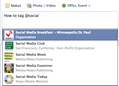 how to tag another facebook page