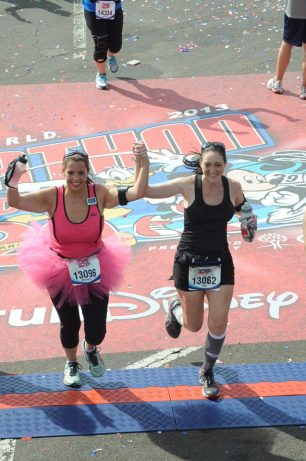 My sister Mychele isn't afraid to set BHAGS. Here she is crossing the finish line for the 2013 Disney Marathon with her friend Tina. This was her first marathon!