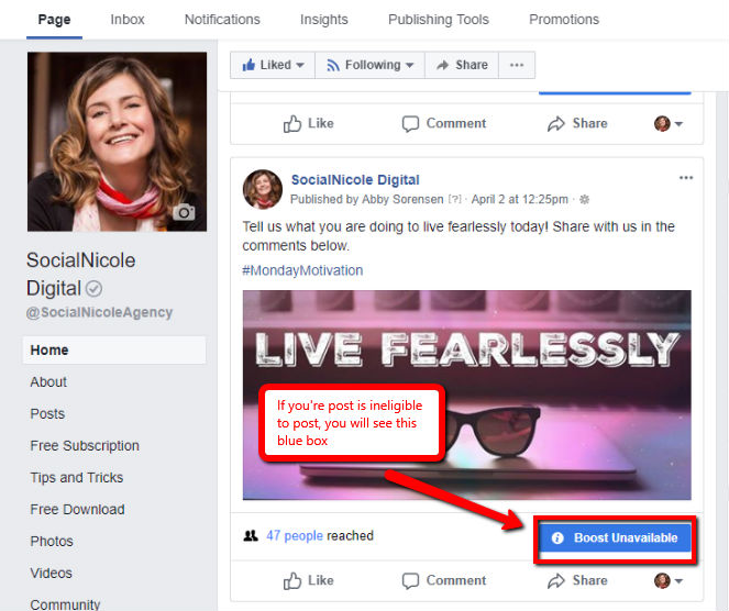 Boost Facebook image boost unavailable