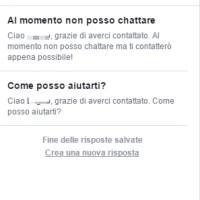 Risposta automatica sulla pagina facebook