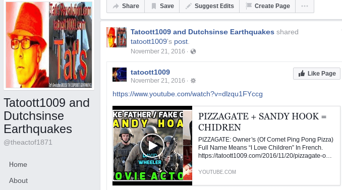 Dutchsinse hoaxer Facebook Page with Tatoott1009 (Sandy Hook & Pizzagate)
