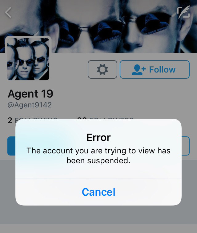 Agent19 as Agent9142 on Twitter - suspended