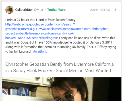 Caliberhitter (Felix Pantaleon) posts to group Truther Wars about flying to Florida.