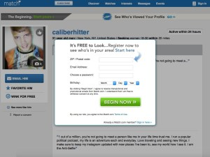 Internet predator Caliberhitter's Match.com profile