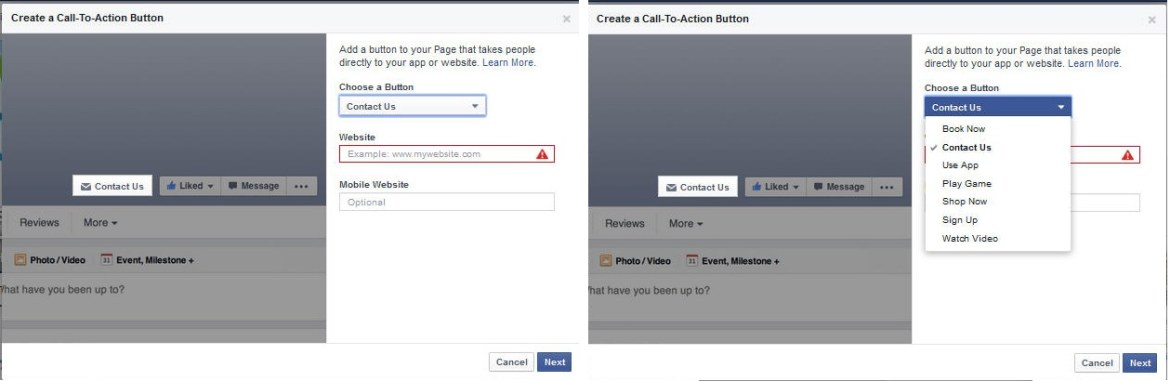 Facebook Page Call-to-Action
