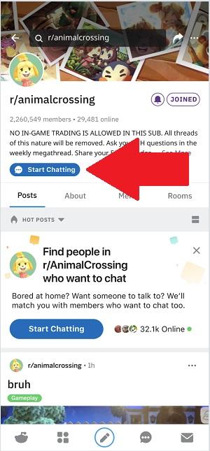 Chat de groupe Reddit