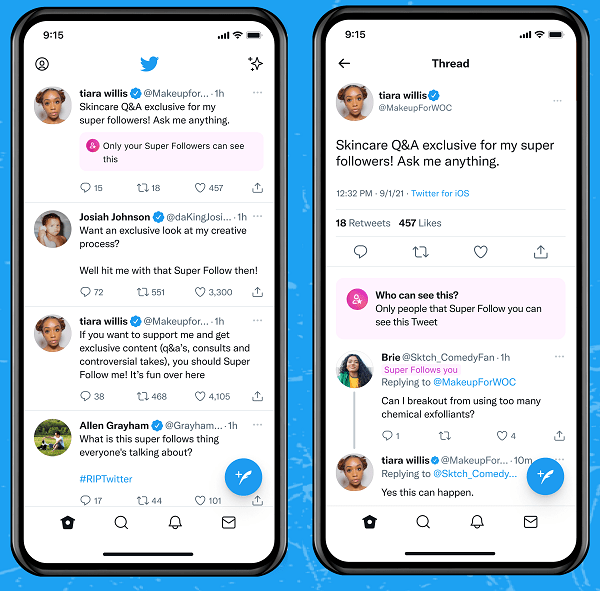 Twitter Super Follows example