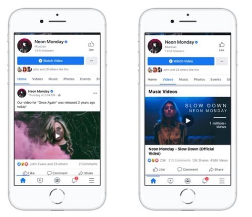 Facebook music clips