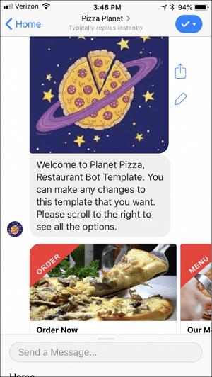 Facebook Messenger Pizza Planet bot