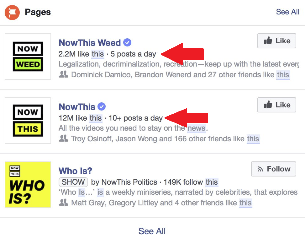 Facebook's Now Listing Page Posting Frequency in Search Results   Social Media Today