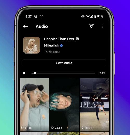 Instagram audio search