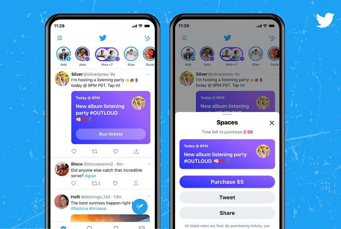 Billets pour les spaces Twitter