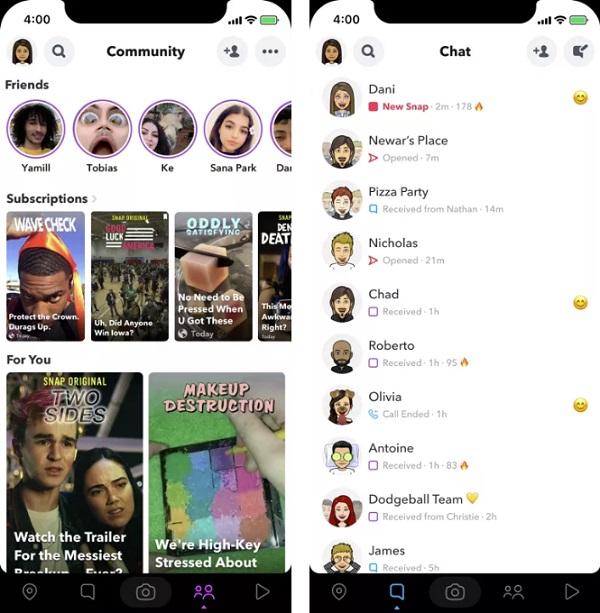 Snapchat redesign test
