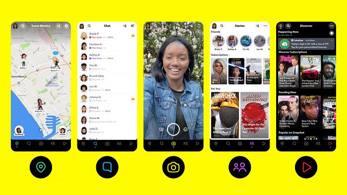 Snapchat function bar