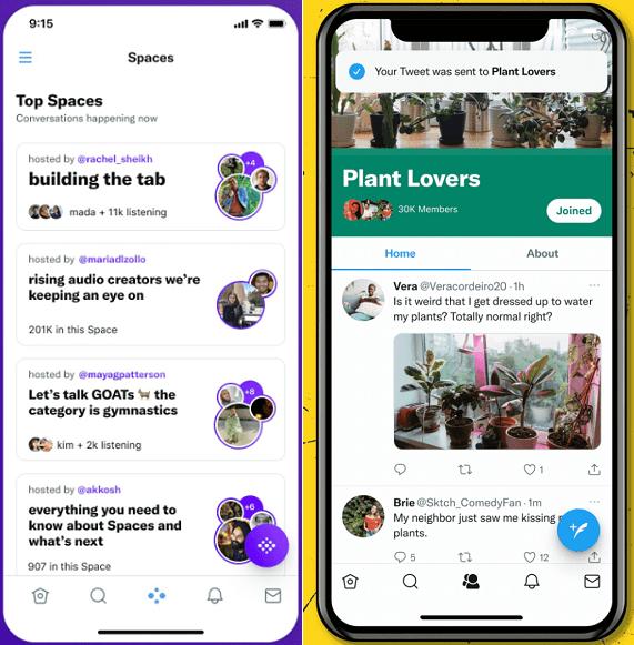 Twitter Spaces vs Communities tab