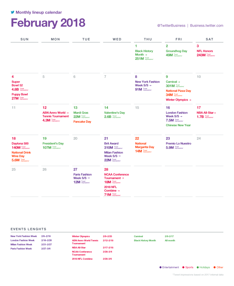 Twitter Releases Major Events Calendar for February to Assist with Strategic Planning | Social Media Today