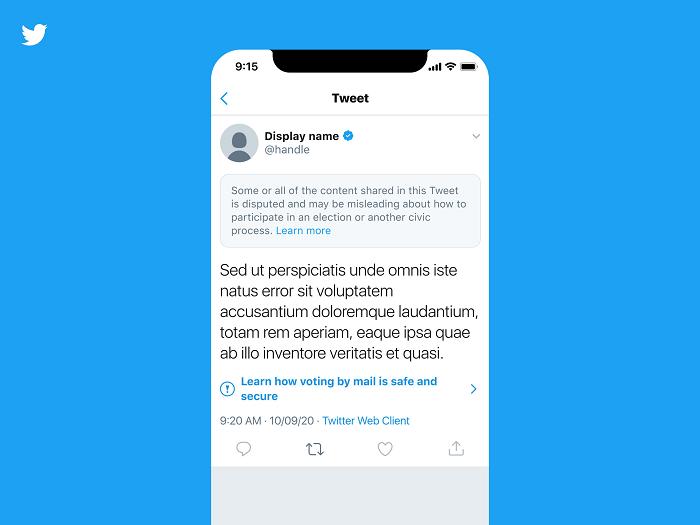 Twitter election misinformation warning