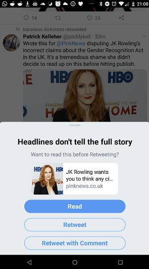 Twitter share warning