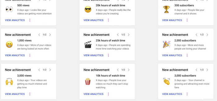 YouTube Achievement Cards