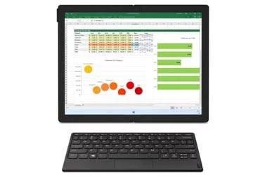 El equipo se puede usar como monitor, se mantiene erguido por su propio pie; el teclado es Bluetooth