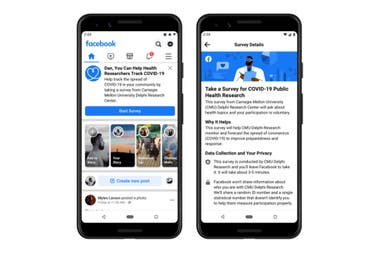 En abril Facebook promovió una encuesta voluntaria global sobre síntomoas del Covid-19 en su red social, en un trabajo desarrollado de forma conjunta con investigadores de la Universidad Carnegie Mellon