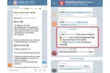 Los mensajes en Telegram que coordinan los mensajes para Instagram