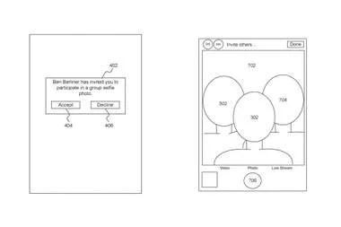 Las pantallas de la función de selfies sintéticas presentes en la documentación enviada por Apple a la agencia gubernamental de patentes