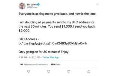 Así apareció hackeada la cuenta de Bill Gates con un mensaje de una supuesta estaba con bitcoins