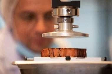 Un técnico examina el proceso de creación de un bife de carne artificial producida con una impresora 3D