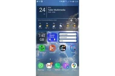Mucha información actualizada en tiempo real en la pantalla de inicio de Android: calendario, pronóstico del tiempo, reloj mundial, tormentas cercanas y monitor de espacio de almacenamiento