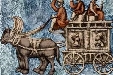 Carro funerario romano de cuatro ruedas o vagón ambulante. A lo largo de su imperio, los romanos usaron varios vehículos para viajar. El carrus (carro) era un carro abierto que transportaba un conductor y un pasajero y era halado por caballos