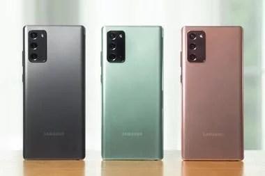 Los tres colores del Galaxy Note20, que no tiene vidrio en la parte trasera, sino plástico