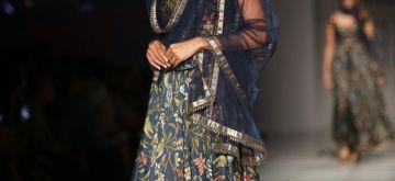 New Delhi: A Model walks the ramp during designer JJ Valaya's show at Amazon India Fashion Week Summer Spring 2017 in New Delhi on Oct 11,2017. (Amlan Paliwal/IANS)