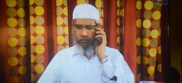 Mumbai: Controversial Islamic preacher Zakir Naik addresses a press conference through Skype in Mumbai, on July 15, 2016. (Photo: IANS)