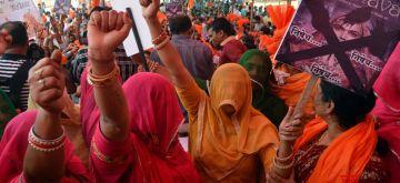 "Mumbai: Karani Sena workers stage a demonstration against ""Padmavati"" in Mumbai, on Nov 20, 2017. (Photo: IANS)"
