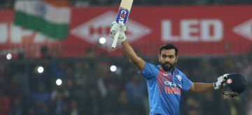 Rohit Sharma raises bat. (File Photo: IANS)