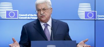 BRUSSELS, Jan. 22, 2018 (Xinhua) -- Palestinian President Mahmoud Abbas speaks during a joint press statement with EU foreign policy chief Federica Mogherini (not seen) at the EU Council in Brussels, Belgium, Jan. 22, 2018. (Xinhua/Ye Pingfan/IANS)