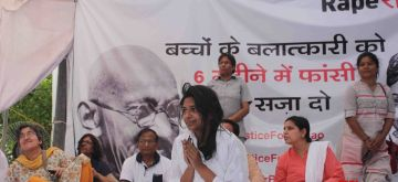 New Delhi: Delhi Commission for Women (DCW) Chairperson Swati Maliwal who is on an indefinite hunger strike to demand death penalty for rapists of minors at Rajghat in New Delhi, on April 15, 2018. Her fast entered the third day today. Maliwal launched the protest at Rajghat on Friday in the wake of the horrific rape incidents in Uttar Pradesh's Unnao and Jammu and Kashmir's Kathua districts. (Photo: IANS)