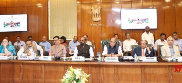 New Delhi: Union Home Minister Rajnath Singh holds meeting with the Finance Commission Chairman NK Singh and other members, in New Delhi on April 21, 2018. Also seen Union Ministers Hansraj Gangaram Ahir and Kiren Rijiju. (Photo: IANS/PIB)