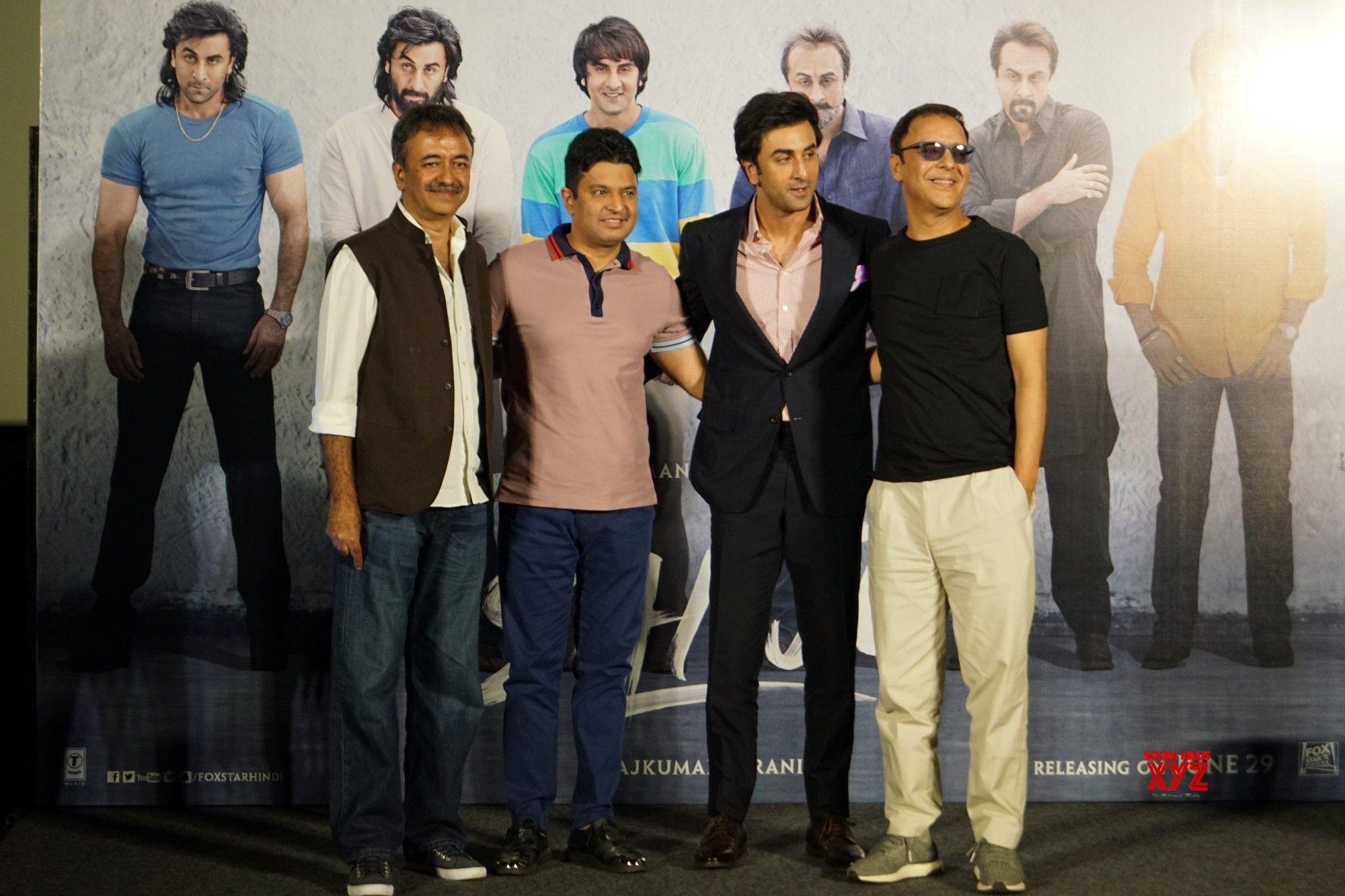 "Mumbai: Actor Ranbir Kapoor, bollywood producer and T-Series Managing Director Bhushan Kumar, producer Vidhu Vinod Chopra and filmmaker Rajkumar Hirani at the teaser launch of Sanjay Dutt's biopic ""Sanju"" in Mumbai on April 24, 2018. (Photo: IANS)"