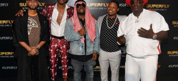 """ATLANTA, GA - JUNE 07:  (L-R) Director X, Trevor Jackson, Big Boi, Jason Mitchell, and Big Bank Black attend Columbia Pictures """"Superfly"""" Atlanta special screening on June 7, 2018 at SCADShow in Atlanta, Georgia.  (Photo by Paras Griffin/Getty Images for Sony Pictures Entertainment )"""